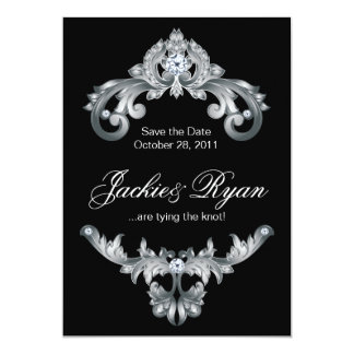 Elegant Wedding Save the Date Black White 5x7 Paper Invitation Card