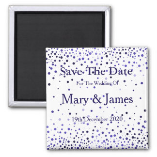 Elegant Wedding Save The Date Blue Glitter Sparkle 2 Inch Square Magnet