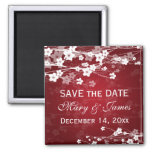 Elegant Wedding Save The Date Cherry Blossom Red Magnets