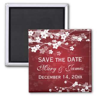Elegant Wedding Save The Date Cherry Blossom Red Magnet