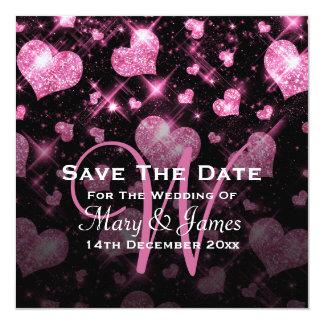 Elegant Wedding Save The Date Glitter Heart Pink Card