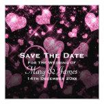 Elegant Wedding Save The Date Glitter Heart Pink Announcement