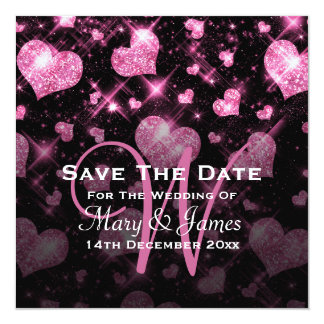 Elegant Wedding Save The Date Glitter Heart Pink 5.25x5.25 Square Paper Invitation Card