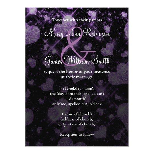 Elegant Wedding Save The Date Glitter Heart Purple Card