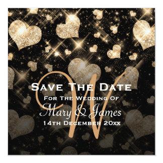 "Elegant Wedding Save The Date Glitter Hearts Gold 5.25"" Square Invitation Card"