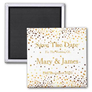 Elegant Wedding Save The Date Gold Glitter Sparkle 2 Inch Square Magnet