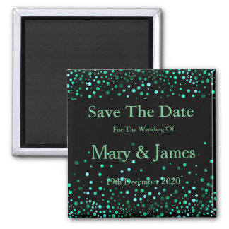 Elegant Wedding Save The Date GreenGlitter Sparkle 2 Inch Square Magnet