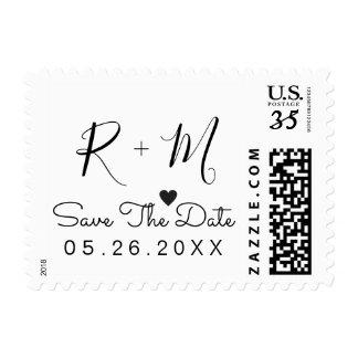 elegant wedding save-the-date handwritten b/w postage