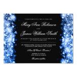 Elegant Wedding Save The Date Lights Blue Card