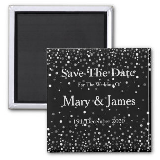 Elegant Wedding Save The Date Sparkle 2 Inch Square Magnet