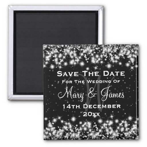 Elegant Wedding Save The Date Winter Sparkle Black 2 Inch Square Magnet