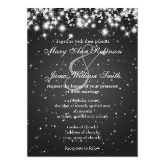 Elegant Wedding Save The Date Winter Sparkle Black Card