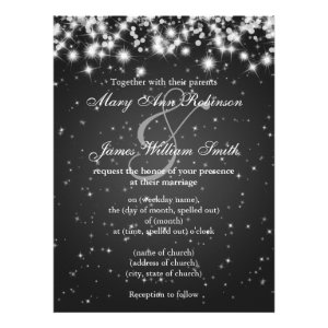 Elegant Wedding Save The Date Winter Sparkle Black Custom Invitation