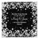 Elegant Wedding Save The Date Winter Sparkle Black Invite