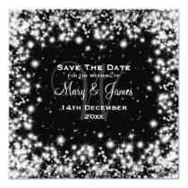 Elegant Wedding Save The Date Winter Sparkle Black 5.25x5.25 Square Paper Invitation Card