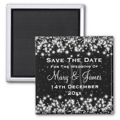 Elegant Wedding Save The Date Winter Sparkle Black Refrigerator Magnet
