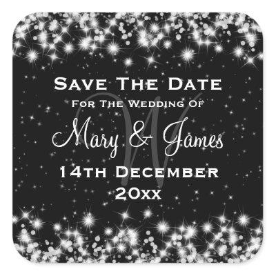 Elegant Wedding Save The Date Winter Sparkle Black sticker
