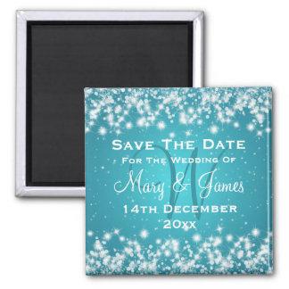 Elegant Wedding Save The Date Winter Sparkle Blue 2 Inch Square Magnet