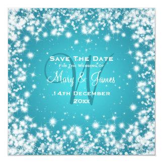 Elegant Wedding Save The Date Winter Sparkle Blue Card