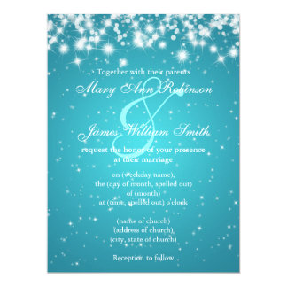 Elegant Wedding Save The Date Winter Sparkle Blue Card