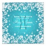 Elegant Wedding Save The Date Winter Sparkle Blue Personalized Invitation