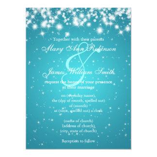 "Elegant Wedding Save The Date Winter Sparkle Blue 6.5"" X 8.75"" Invitation Card"