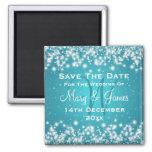 Elegant Wedding Save The Date Winter Sparkle Blue Refrigerator Magnet