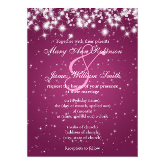 Elegant Wedding Save The Date Winter Sparkle Pink Card