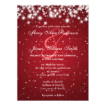Elegant Wedding Save The Date Winter Sparkle Red Card
