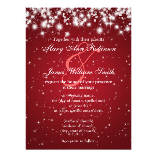 Elegant Wedding Save The Date Winter Sparkle Red Invite
