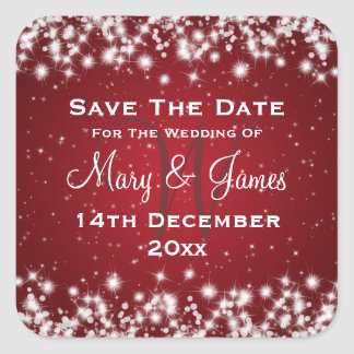 Elegant Wedding Save The Date Winter Sparkle Red Square Sticker