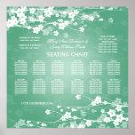 Elegant Wedding Seating Chart Cherry Blossom Mint