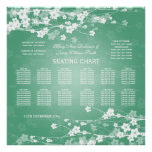 Elegant Wedding Seating Chart Cherry Blossom Mint Poster