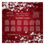 Elegant Wedding Seating Chart Cherry Blossom Red Poster