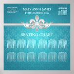 Elegant Wedding Seating Chart Fleur De Lis Blue Poster