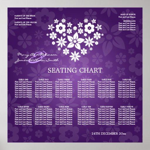 elegant wedding seating chart flowery heart purple poster