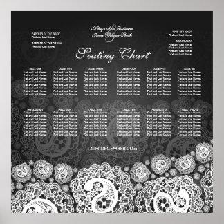 Elegant Wedding Seating Chart Paisley Lace Black Poster