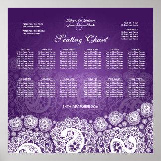 Elegant Wedding Seating Chart Paisley Lace Purple Poster