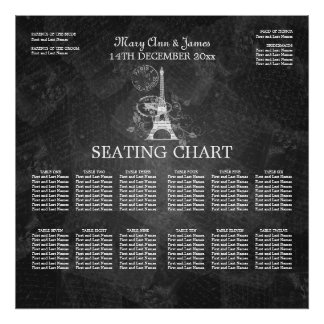 Elegant Wedding Seating Chart Paris Black