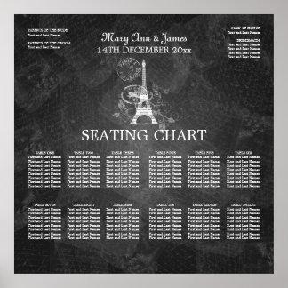 Elegant Wedding Seating Chart Paris Black Poster