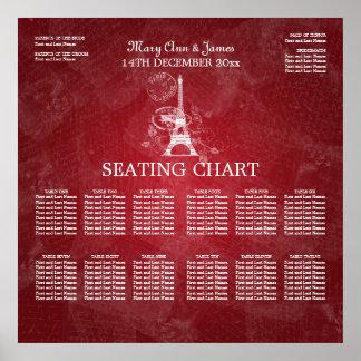 Elegant Wedding Seating Chart Paris Red Poster