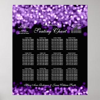 Elegant Wedding Seating Chart Purple Lights