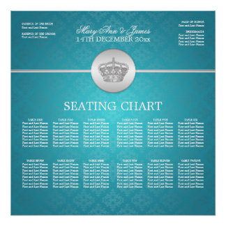 Elegant Wedding Seating Chart Royal Crown Blue