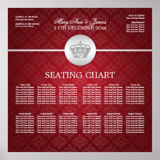 Elegant Wedding Seating Chart Royal Crown Red