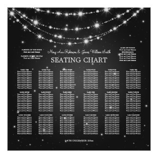 Elegant Wedding Seating Chart Sparkling Chain Blac Poster