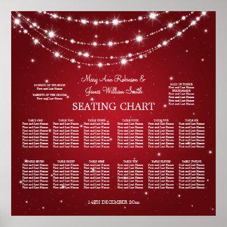 Elegant Wedding Seating Chart Sparkling Chain Red