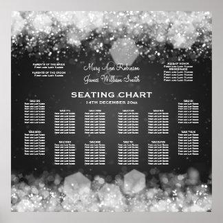 Elegant Wedding Seating Chart Sparkling Night Blac Poster