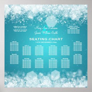 Elegant Wedding Seating Chart Sparkling Night Blue Poster