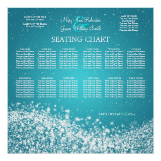 Elegant Wedding Seating Chart Sparkling Wave Blue Posters
