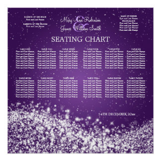 Elegant Wedding Seating Chart Sparkling Wave Purpl Poster